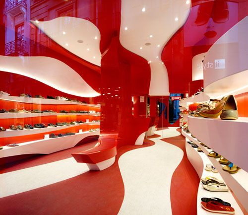 A-cero was tapped to renovate a little space in Granada, Spain to become the city's first Camper store. The Spanish shoe brand always chooses a different concept for each of its stores that they open based on the designers they collaborate with. A-cero was the perfect pick, being innovators in the world of design and all. Bonus: red and white are favorite colors of both companies.