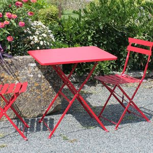 Salon de jardin table et 2 chaises pliantes en acier Pop rouge