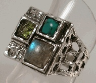 Artistic Gemstones and roman glass ring