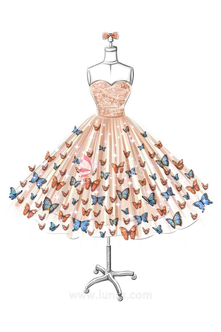 Sketch Of Strapless Sweetheart Butterfly Embellishments