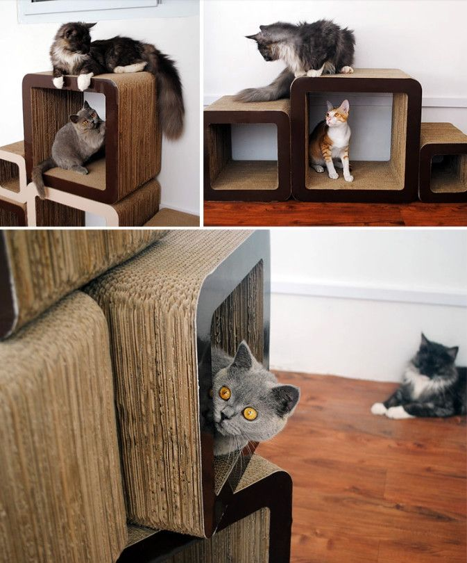 Simple Unique Square Design Cat Scratcher Cardboard Cat House Sofa Furniture