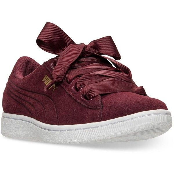 Puma Women's Vikky Ribbon Casual Sneakers from Finish Line ($65) ❤ liked on Polyvore featuring shoes, sneakers, laced up shoes, lace up shoes, lace up sneakers, puma trainers and ribbon lace up shoes