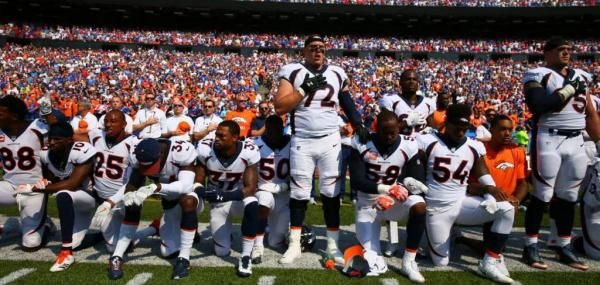 Several players from both the Buffalo Bills and Denver Broncos demonstrated during the national anthem prior to Sunday's game at New Era…