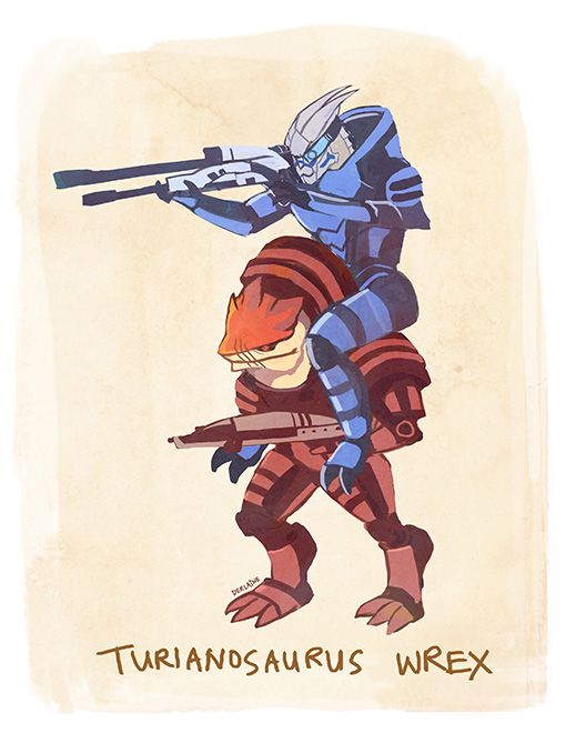 derlaine:    TURIANOSAURUS WREX HE IS THE BADASSEST SQUADMATE ON THE NORMANDY SAVING THE GALAXY WOOP WOOP  I made a shirt because I am a slore like thathttp://www.redbubble.com/people/derlaine/works/9064293-turianosaurus-wrex