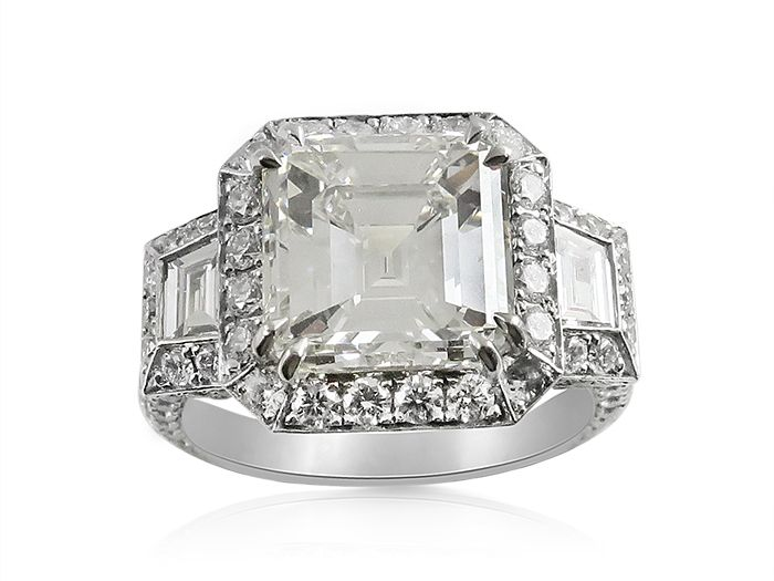 fdddac73213145 Alson Signature Collection Platinum Engagement Ring, Featuring a 4.01 Carat  Asscher Cut Diamond, I Color, VS2 Clarity, GIA Certifie…