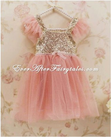 Girls pink tutu and gold sequin dress. Perfect for a disney outfit or for birthday outfit