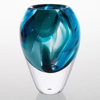 "Sini Majuri - Art glass vase from the ""Jungle""-series, Finland."