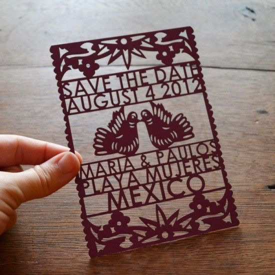 Papel Picado Wedding Announcements. Perfect for spanish themed weddings!