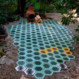 Geometric Floors: Backyard Patio, Backyard Idea, Outdoor Tile, Art Tile, Outdoor Spaces, Kismet Tile, Cement Tile, Back Yard, Moroccan Tile