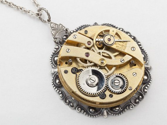 Steampunk Necklace Antique gold pocket watch by steampunknation