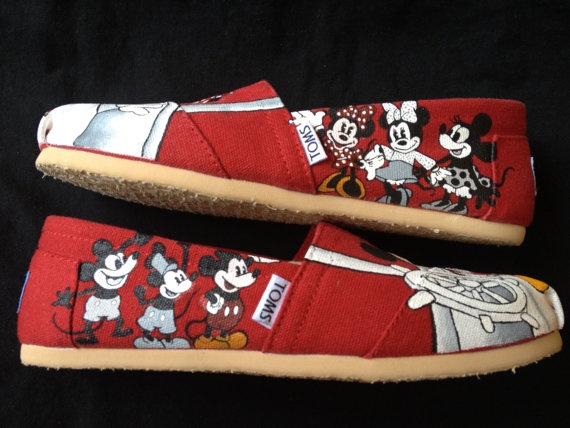 Custom Hand Painted Shoes  Minnie and Mickey Mouse by RyTee, $165.00