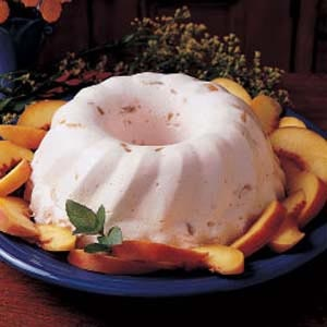 Peach Bavarian. This can be made in a 9X13 baking dish as well. We love this recipe.