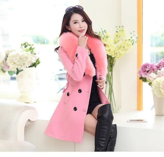 Plus Size M-5Xl Winter Woolen Coat Women Double-Breasted Solid Long Coats Cashmere Jackets Casacos Feminino khaki XL 2