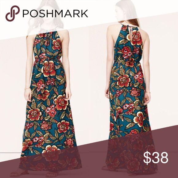 NWOT LOFT floral spring maxi dress linen xs NWOT Ann Taylor LOFT floral spring maxi dress linen xs navy blue LOFT Dresses Maxi