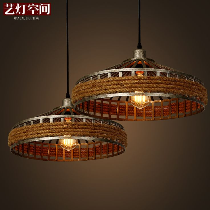 American country space art lamp chandelier retro living room lights rope hanging lamp Industrial Garden Restaurant #Affiliate