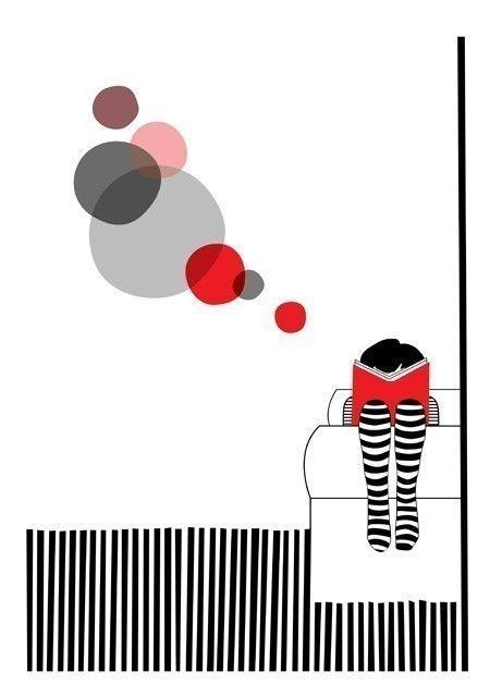 Read book girl red stripes circles  Sunday Print 8 x by teconlene, $22.00