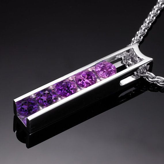I want this!! amethyst ombre necklace - birthstone jewelry - mothers necklace - purple - lilac -