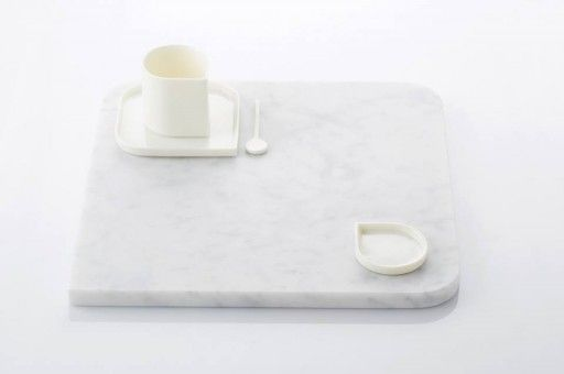Drop shaped mug, plate, saucer and spoon from the 'Rhythm' collection by Flemish designer Veerle van Overloop • Minimalistic and clean design