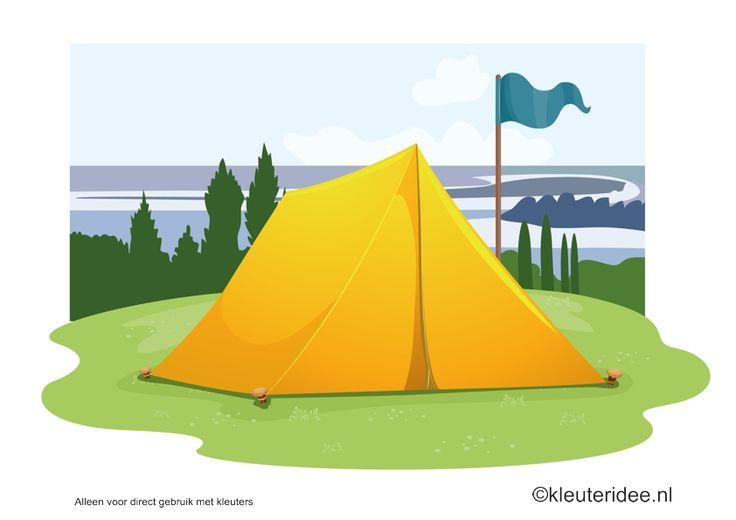 Kaartenset (20 kaarten) visuele discriminatie en kritisch luisteren voor kleuters 5, thema camping, kleuteridee.nl, juf Petra,  preschool visual discrimination, camping theme