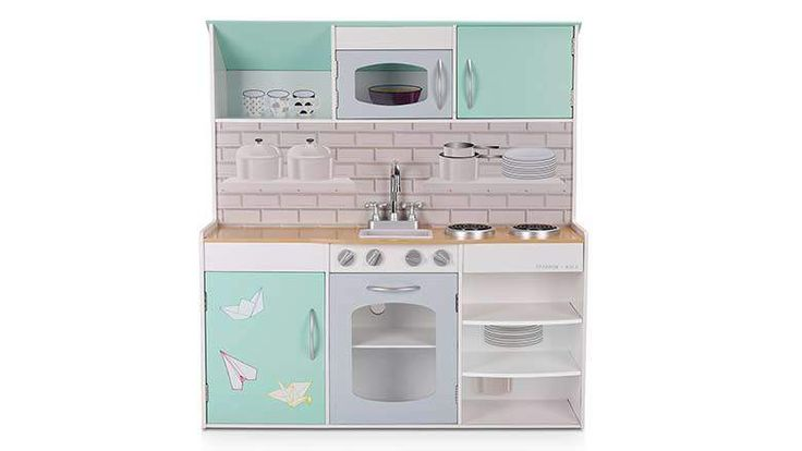 2017: Here's one model that breaks away from the standard design. WildBird Care has  integrated a dollhouse into their design of the Double-Side Wooden Kitchen Playset. In other words, when viewed from the front, you see a pretty decent toy kitchen, while the back features a multi-story dollhouse.  In terms of elements, you get a sink, microwave, stove with an oven. Price: $149.99