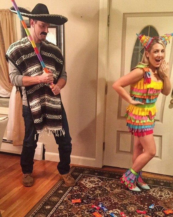 DIY Mexican Themed Pinata Couple Costume Idea. Stylish Couple Costumes for Halloween.