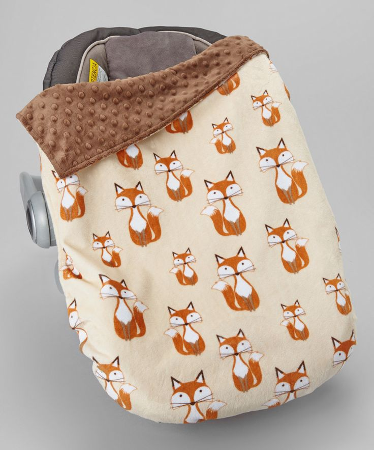 Another great find on #zulily! Lolly Gags 18'' x 26'' Beige Fox & Brown Minky Car Seat Blanket by Lolly Gags #zulilyfinds