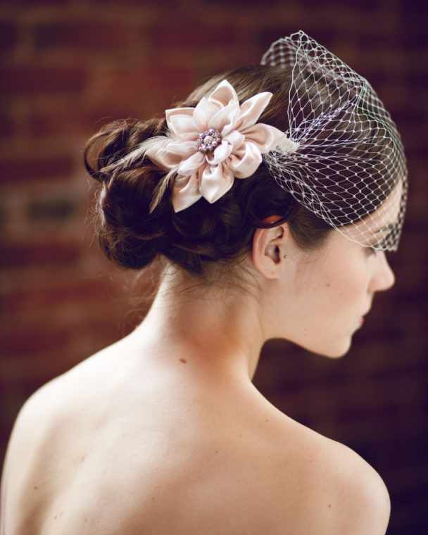 Birdcage Veil And Curly Wavy Wedding Hairstyles