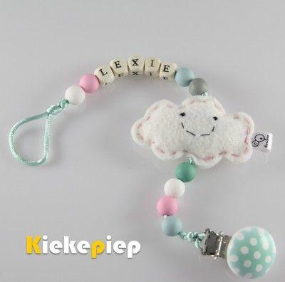 Speenkoord met naam wolkje roze roze mint