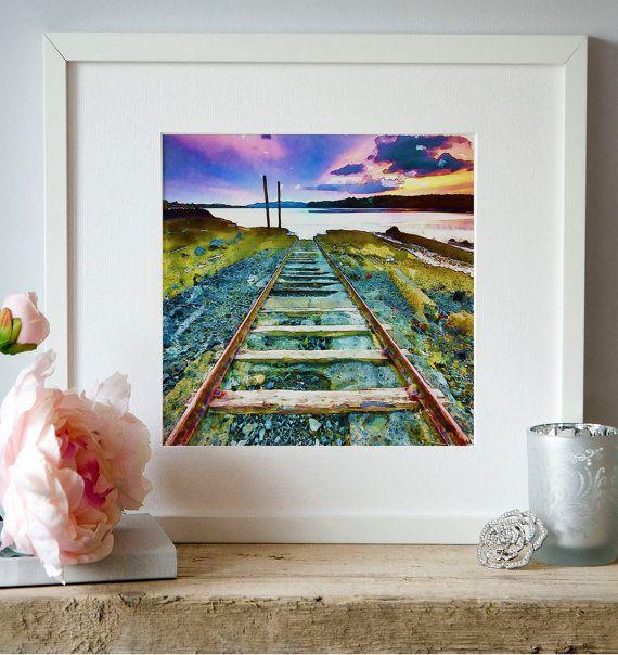 Railway Track Train Watercolor Landscape Wall art by Artsyndrome