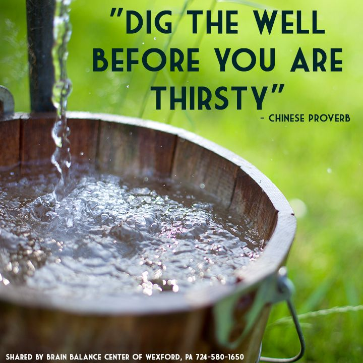 """""""Dig the well before you are thirsty"""" - Chinese proverb"""