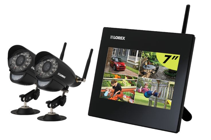 Digital Wireless Security System with LCD picture frame monitor and two cameras