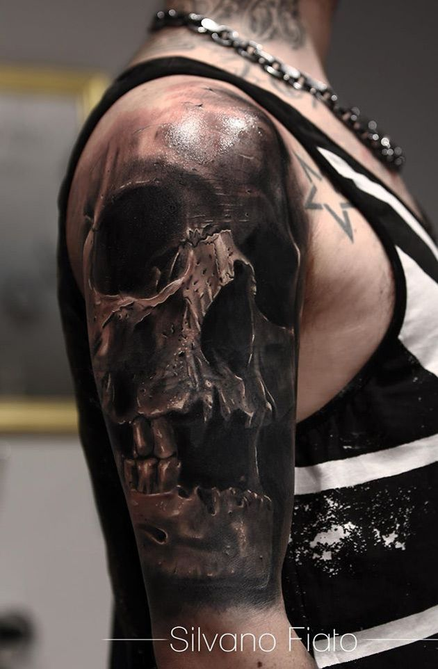 Awesome Skull Sleeve Tattoo - http://giantfreakintattoo.com/awesome-skull-sleeve-tattoo/