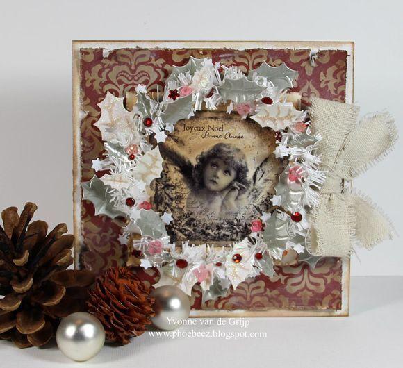 Stempelglede :: Design Team Blog: Handmade card. Rubber stamps used for this project: Vintage Christmas stamp set. 2014 ©  Yvonne van de Grijp