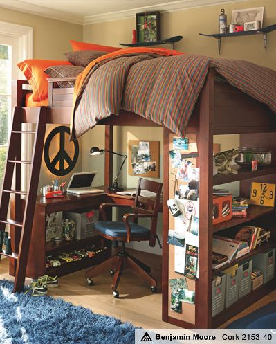 Loft Bed Idea...I just love this idea...the floating shelves on top are cute too