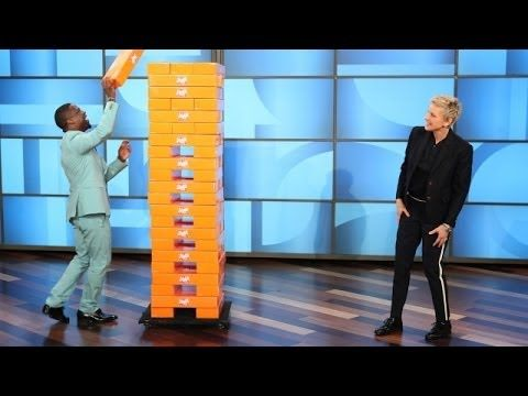 ▶ Kevin Hart and Ellen Play Jenga - YouTube HAHAHHAHAHA