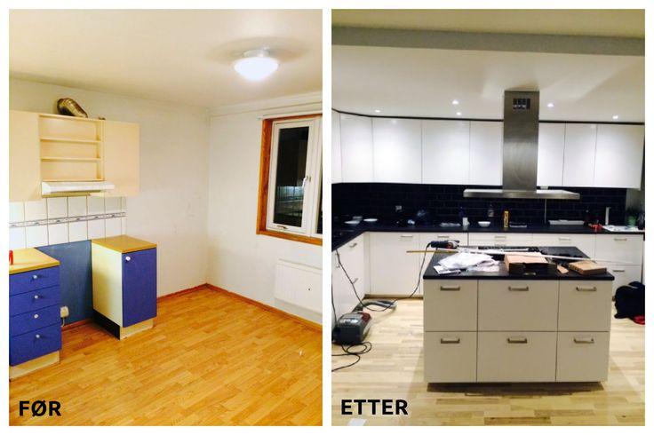 Før og etter #totaloppussing av #kjøkken via Mittanbud.no. Godt med #oppbevaring og #kjøkkenbenken gir masse #arbeidsplass.