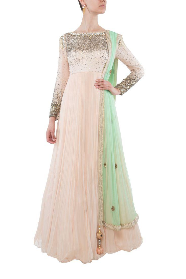 Peach and sea green anarkali by Kanika Chawla. Shop now: http://www.onceuponatrunk.com/designers/kanika-chawla #green #peach #anarkali #floral #embroidery #sheer #fashion #beautiful #elegant #shopnow #kanikachawla #indianfashiondesigner #onceuponatrunk #happyshopping