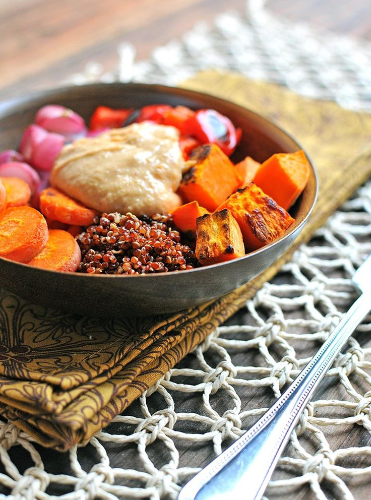 Roasted Veggie & Quinoa Bowls with Coconut-Almond Sauce