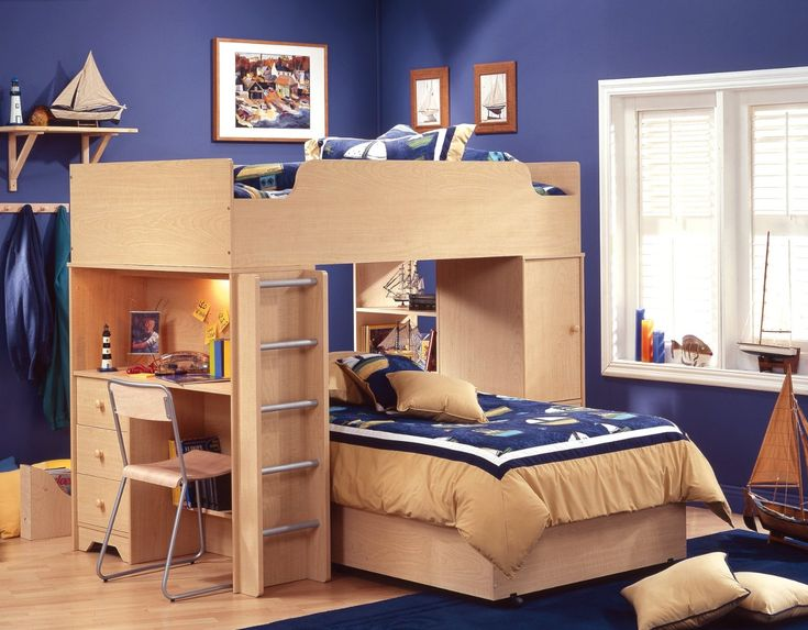attractive wooden bunk bed with desk bundle storage units underneath with cute purple wall idea