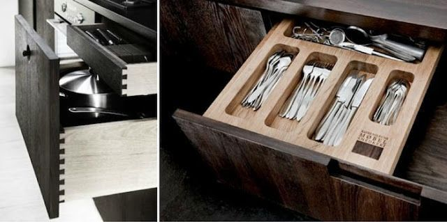 Beautiful joinery and silverware divider.