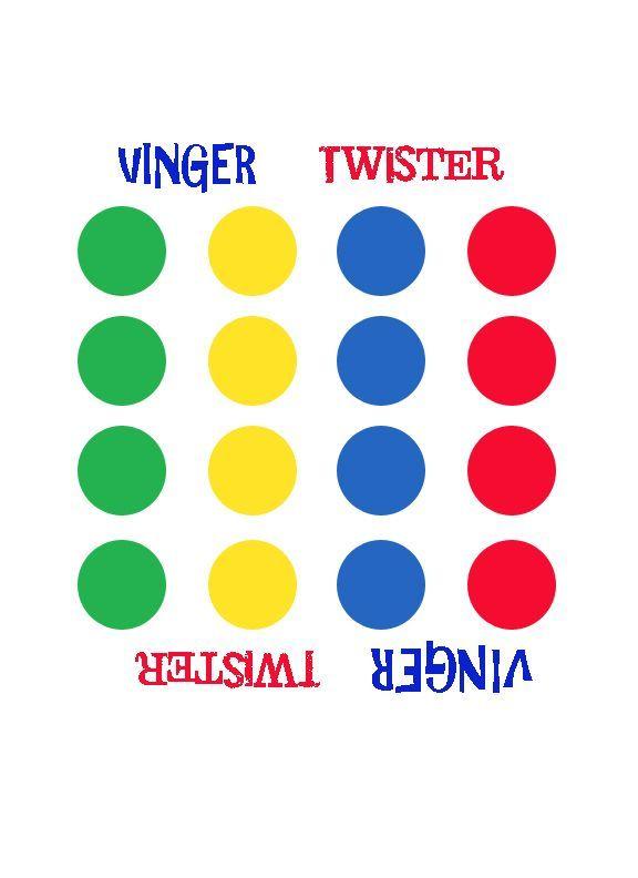 Een paar maanden geleden kwam ik eens een leuk idee tegen op Pinterest... Vingertwister! Iedereen kent de 'gewone' Twister wel, maar bij deze versie gebruik je enkel je vingers. Alleen het spelbord...