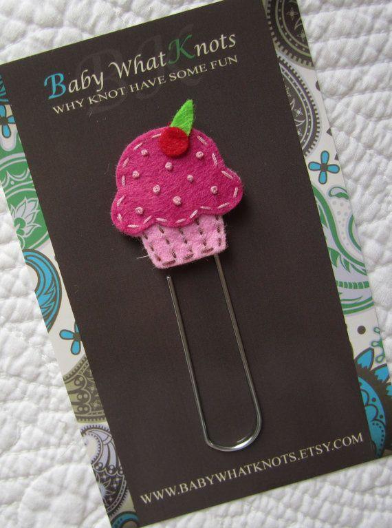 Kids Girls Cupcake Bookmark Felt Cupcake Bookmark by babywhatknots