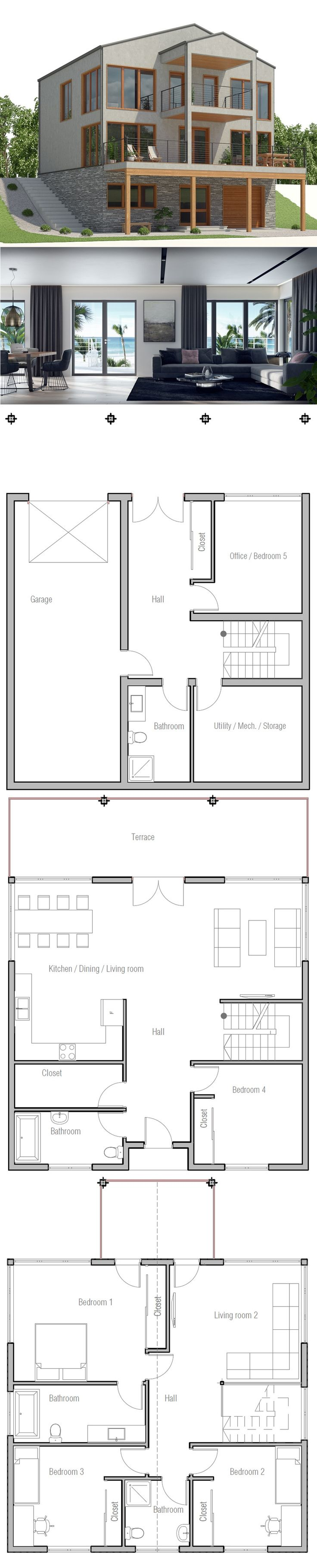 Sloping lot house plan 17 best Colonial