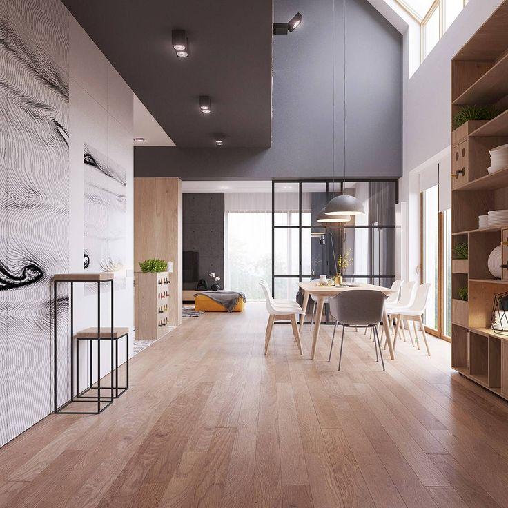 Open space scandinavo creato tra la sala da pranzo, cucina e soggiorno - casa moderna scandinava