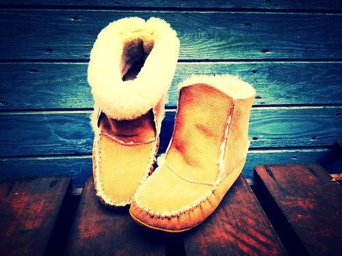 Authentic Native Canadian Hand Made Sheepskin Roll Down Slippers (65.00 GBP) by PishuCanada