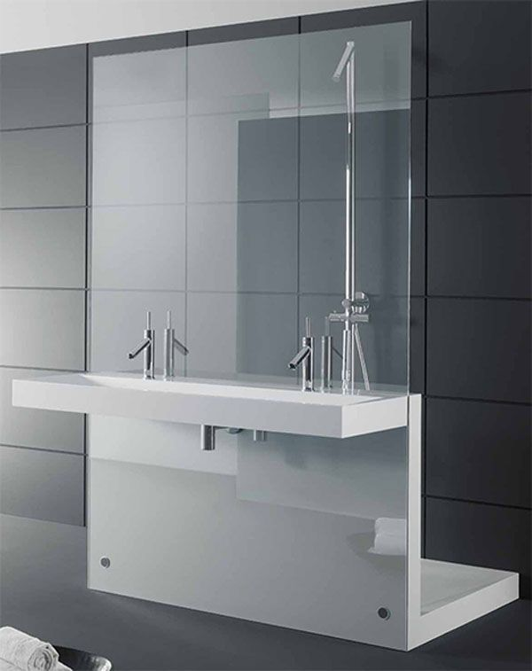 Bathroom:Stylish Bathroom By Duscholux Double Basin Porcelain Griffin Products $800 Utility Sink Silver Pull Down Faucets Black Ceramic Tile...