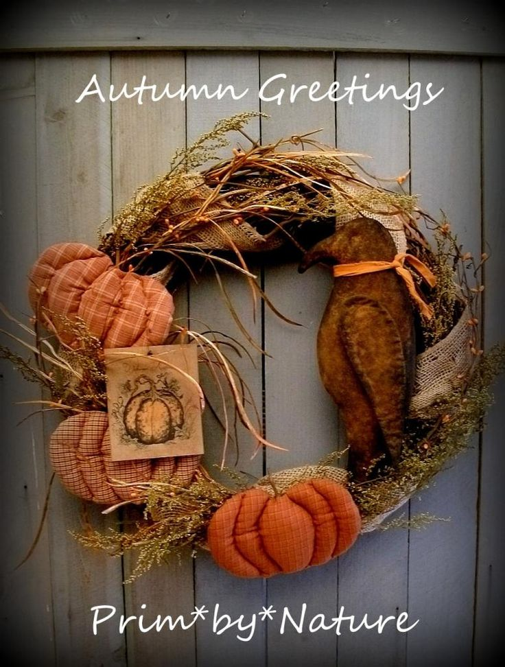 Primitive Pumpkin and Crow Wreath Fall Autumn Offering from Prim*by ...