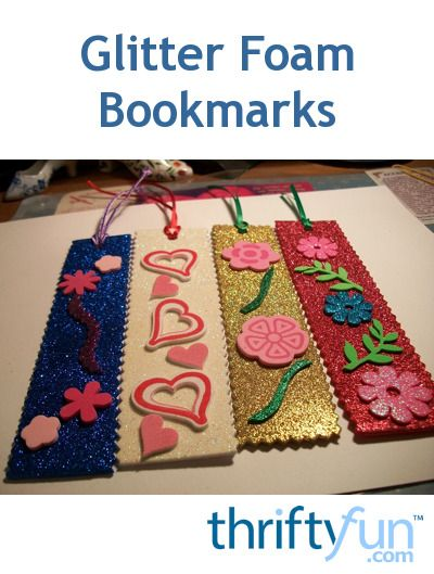 Glittery sheet craft foam is a good choice for making decorative bookmarks. Vary them up with the accents you add. This is a guide about glitter foam bookmarks.