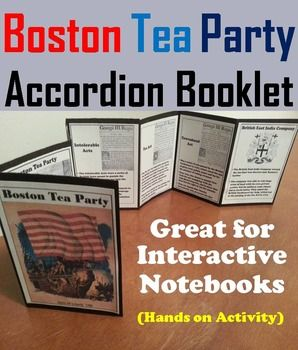 This booklet is a fun hands on activity for students to use in their interactive notebooks. Students may research or show what they have learned by writing different facts on the provided blank lines about each Term Associated with the Boston Tea Party.