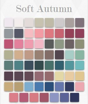 Soft autumn palette: warm, muted colors. Not as warm as true autumn (more neutral). Low contrast is best.